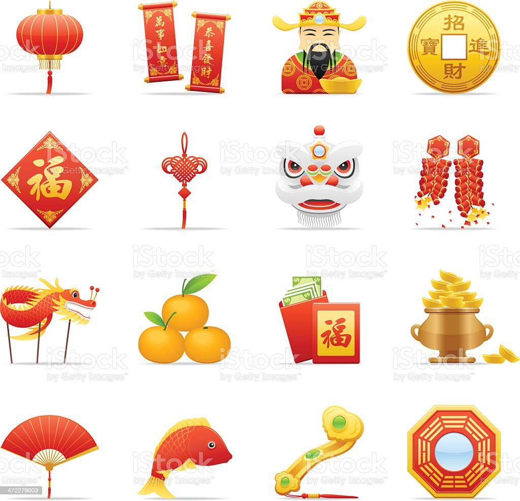 Color Icons - Chinese New Year royalty-free color icons chinese new year stock illustration - download image now