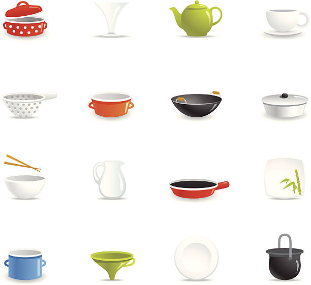 Color Icons - Dishware 16 color icons representing different dishware models. serving dish stock illustrations