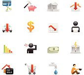 16 color icons representing different financial & economic crisis symbols.