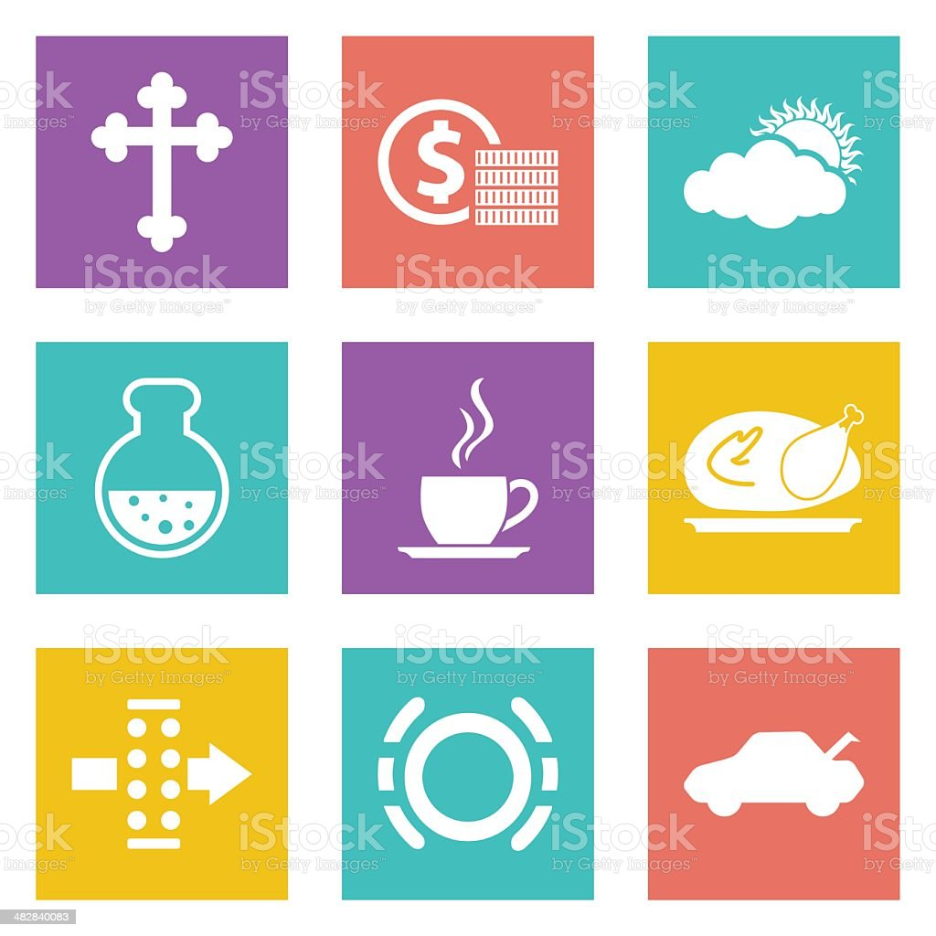 Color icons for Web Design set 31 vector art illustration