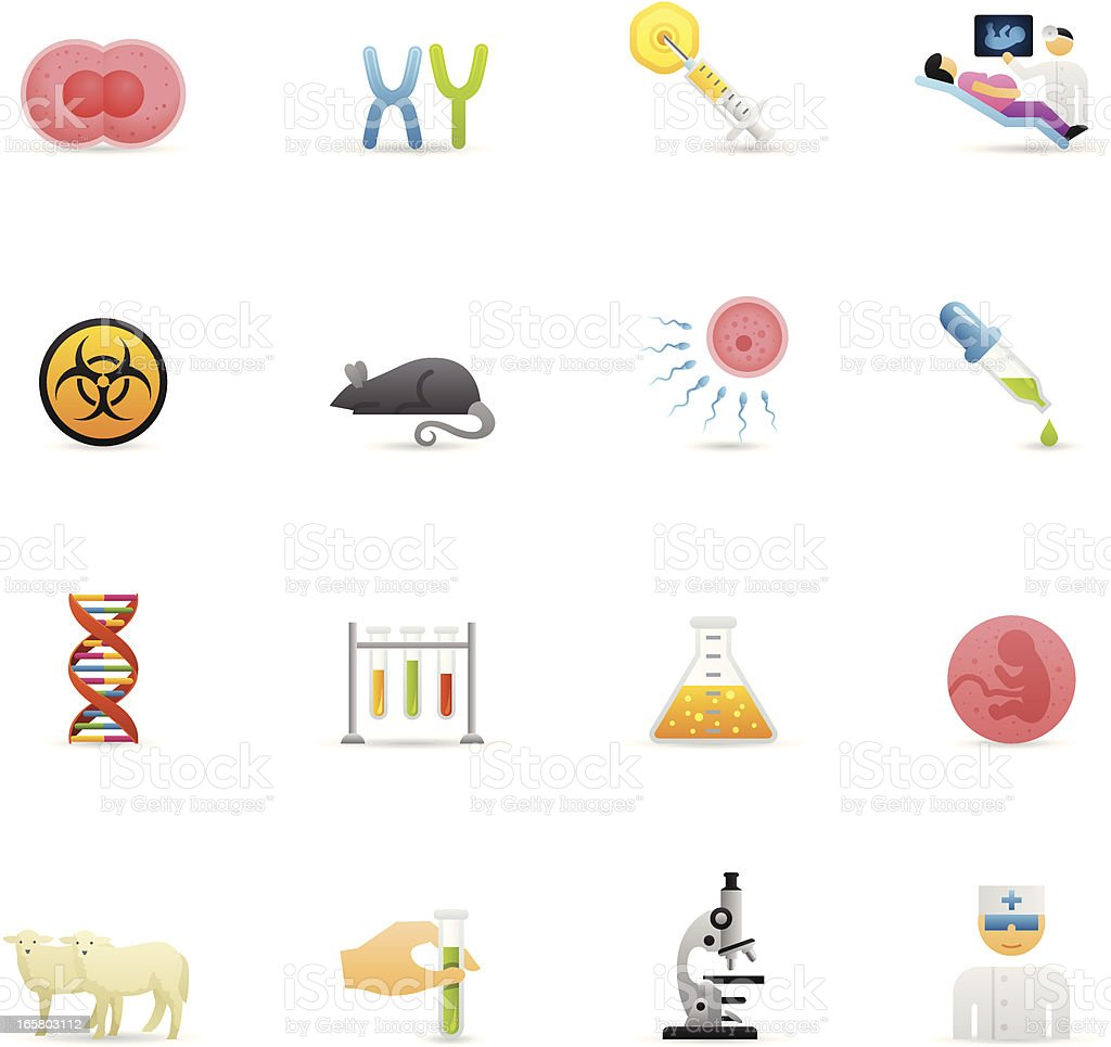 Color Icons - Genetics & Cloning vector art illustration
