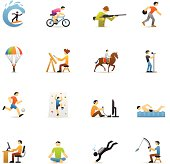 16 color icons representing related to the Hobbies theme.