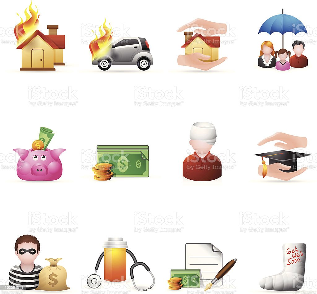 Color Icons - Insurance royalty-free color icons insurance stock vector art & more images of accidents and disasters
