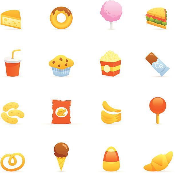 farbe icon-junk food - tortenriegel stock-grafiken, -clipart, -cartoons und -symbole