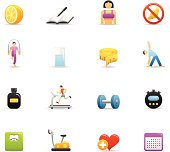 16 color icons representing different loosing weight related symbols.