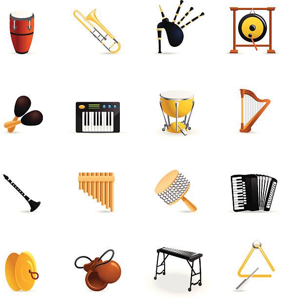 stockillustraties, clipart, cartoons en iconen met color icons - musical instruments - castagnetten