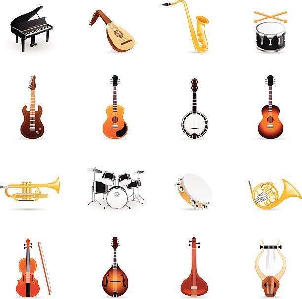kolorowe ikony-instrumenty muzyczne - instrument muzyczny stock illustrations