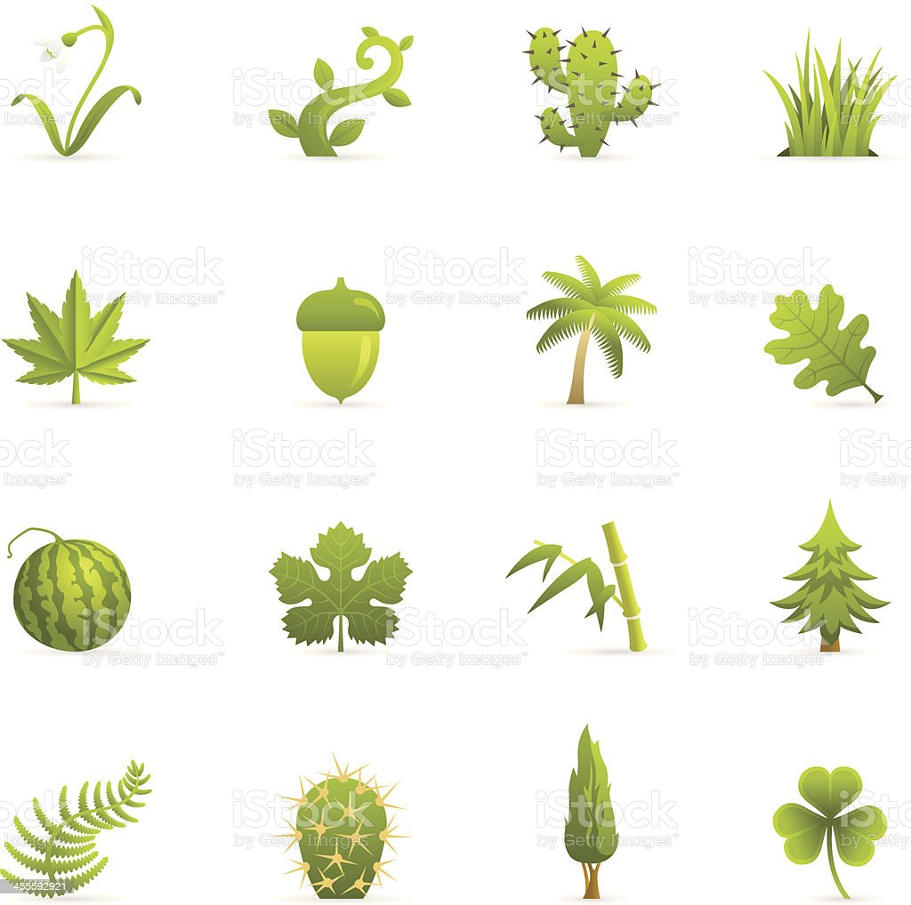 Color Icons - Nature Green Plants royalty-free stock vector art