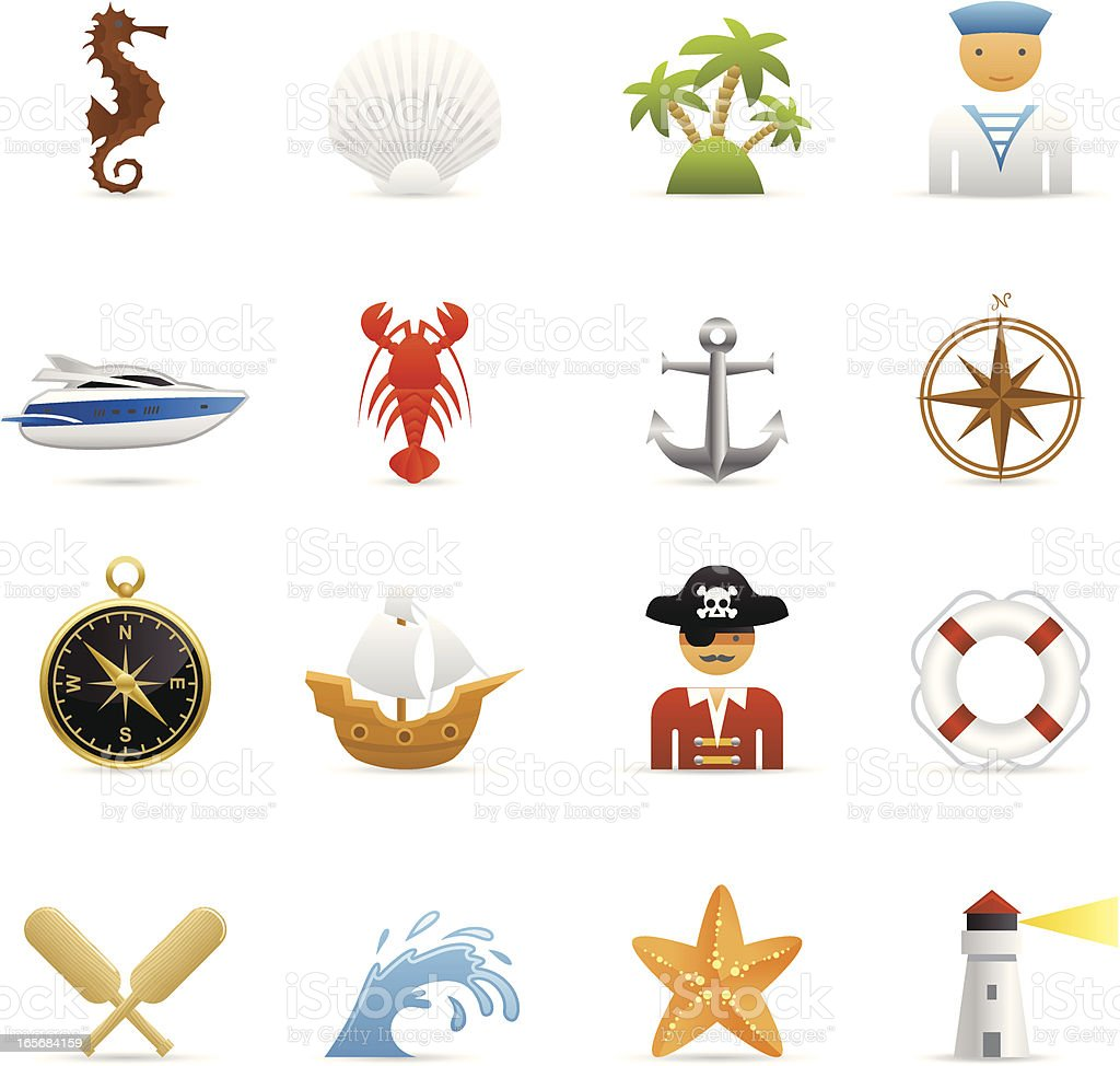 Color Icons - Nautical royalty-free stock vector art