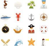 16 color icons representing different 3D color nautical symbols.