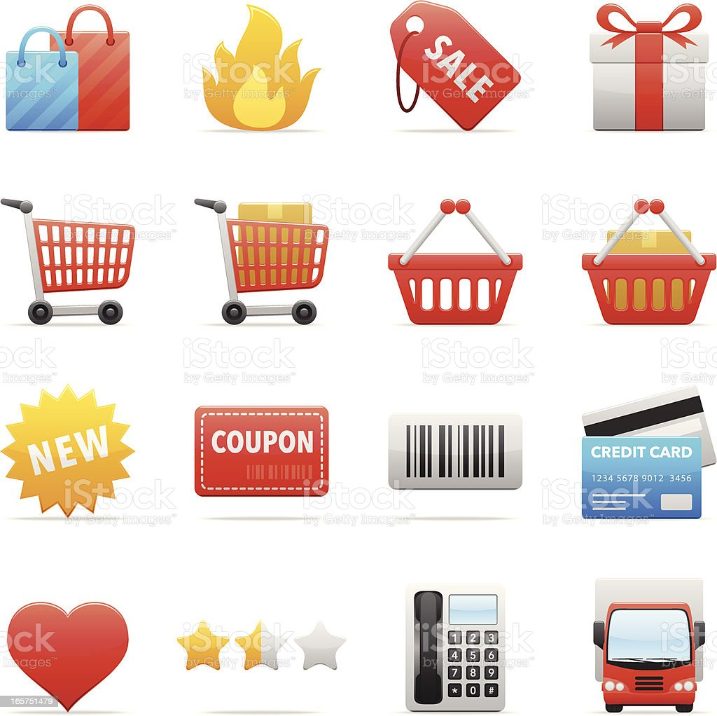 Color Icons - Online Shopping royalty-free stock vector art
