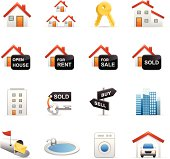 16 color icons representing different 3D color real estate symbols.