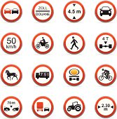 16 color icons representing different road signs.