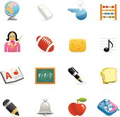 16 color icons representing different 3D school symbols.