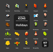 Color icons set in flat isometric illustration style, vector symbols - Holidays collection
