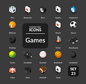 Color icons set in flat isometric illustration style, vector symbols - Sport and game collection