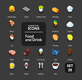 Color icons set in flat isometric illustration style, vector symbols - Food and drink collection