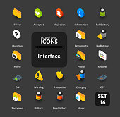 Color icons set in flat isometric illustration style, vector symbols - Interface collection