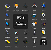 Color icons set in flat isometric illustration style, vector symbols - Car parts and services collection