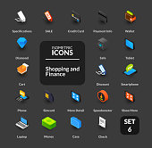 Color icons set in flat isometric illustration style, vector symbols - Shopping and finance collection