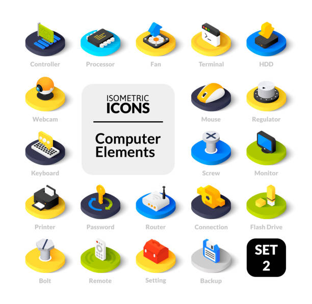 farbige icons inmitten flach isometrische darstellung stil, vektor-sammlung - farbchips stock-grafiken, -clipart, -cartoons und -symbole