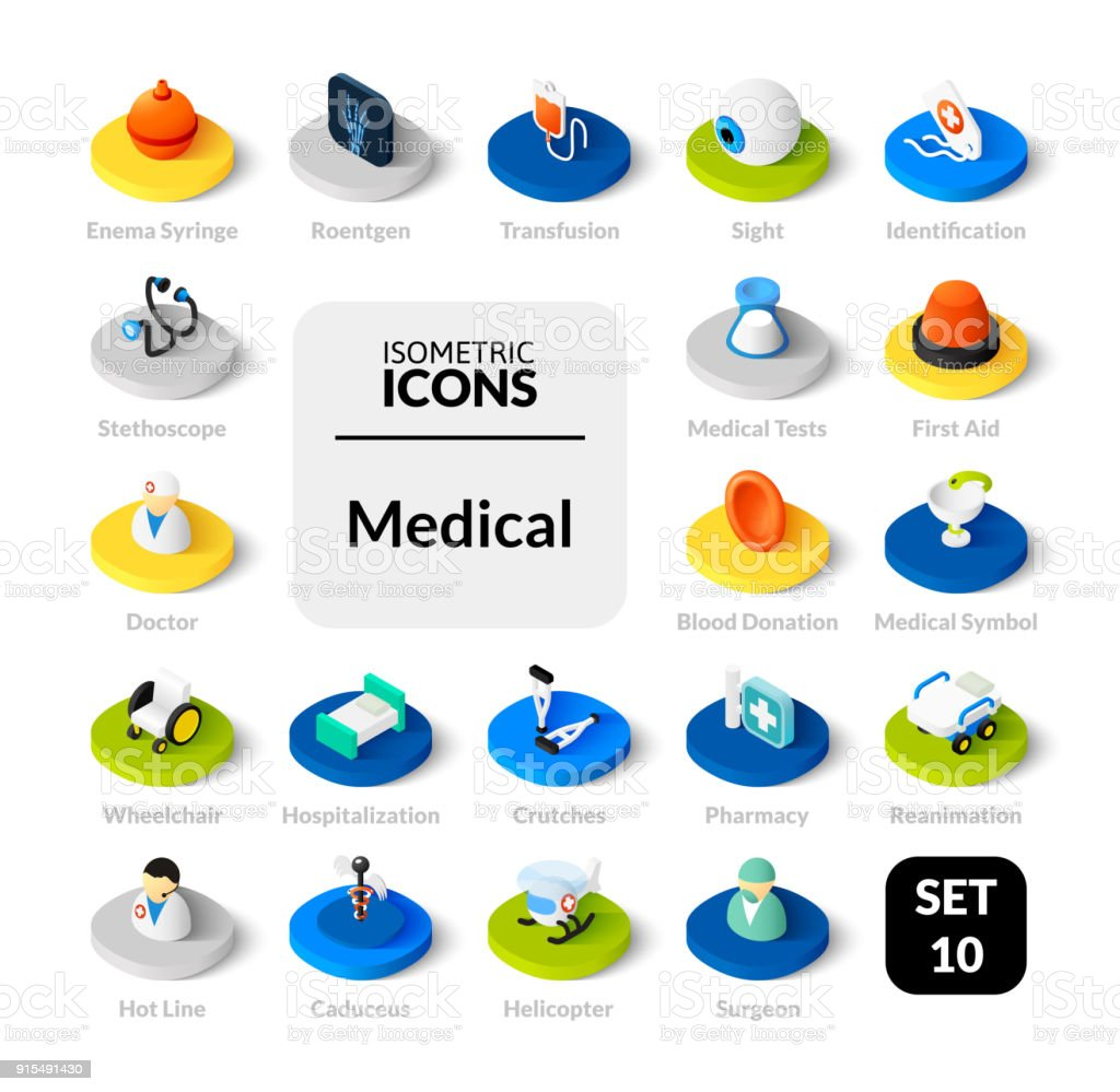 Color icons set in flat isometric illustration style, vector collection vector art illustration