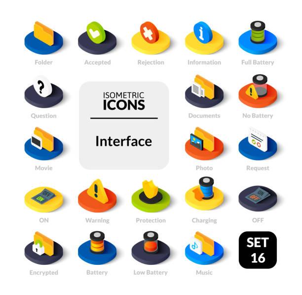 フラット アイソメ図スタイル、ベクター コレクションの色のアイコンを設定します。 - アイソメトリック点のイラスト素材/クリップアート素材/マンガ素材/アイコン素材