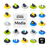 Color icons set in flat isometric illustration style, vector symbols - Media collection