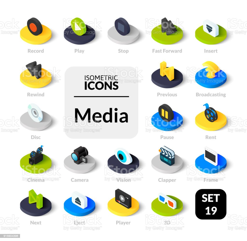 Icônes de couleur situé dans le style d'illustration plat isométrique, collection vector - Illustration vectorielle