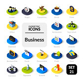 Color icons set in flat isometric illustration style, vector symbols - Business collection