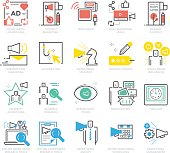 Color Icons set of Advertising and Communication