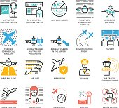Color Icons set of Aircraft and Airport. Pixel Perfect Icons. Simple mono linear pictogram pack stroke vector symbol concept for web graphics