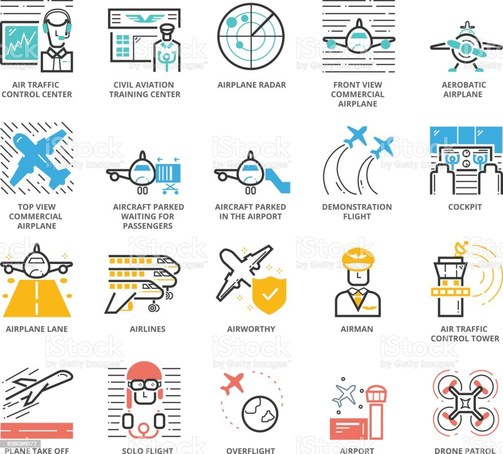 Color Icons set of Aircraft and Airport vector art illustration