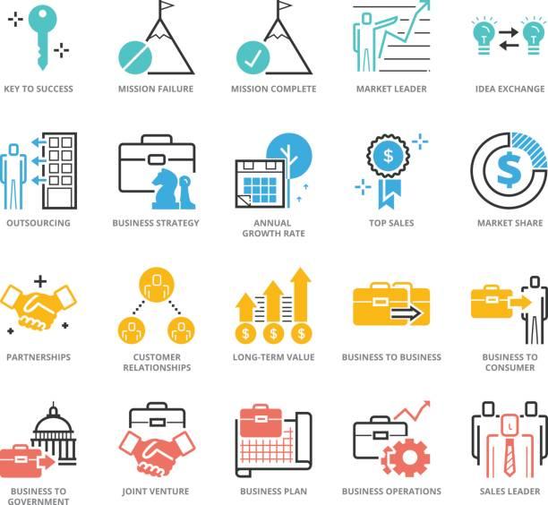 farbe icons set business development - schlüsselfertig stock-grafiken, -clipart, -cartoons und -symbole