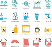 Color Icons set of Coffee Shop. Pixel Perfect Icons. Simple mono linear pictogram pack stroke vector symbol concept for web graphics.