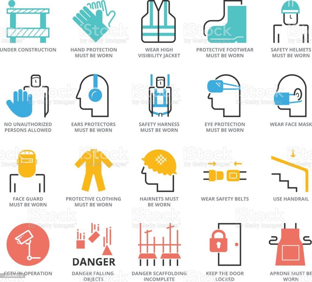 Conjunto de iconos de colores de industria de construcción y seguridad de edificio - ilustración de arte vectorial