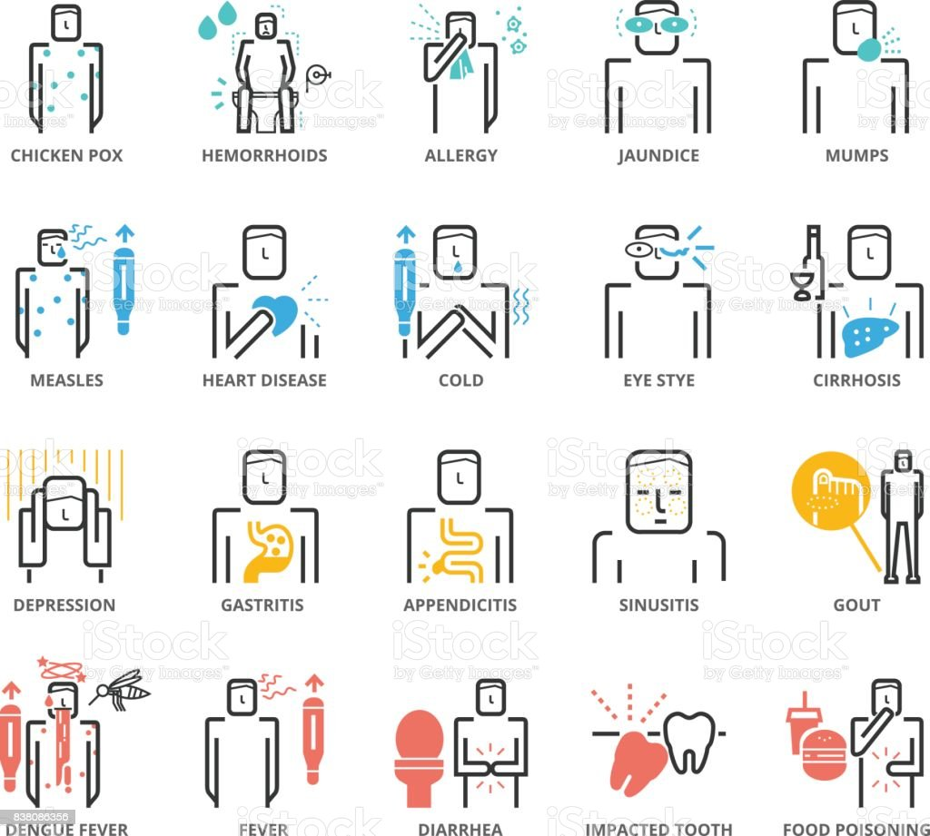 Color Icons set of Diseases and Symptom vector art illustration