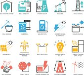 Color Icons set of Energy and Industry for Web Development. Pixel Perfect Icons. Simple mono linear pictogram pack stroke vector symbol concept for web graphics.