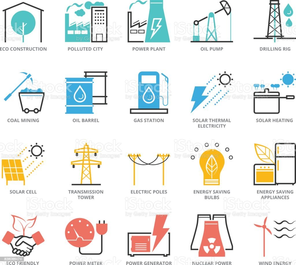 Color Icons Set Of Energy And Industry Stock Illustration ...