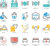 Color Icons set of Hotel Services. Pixel Perfect Icons. Simple mono linear pictogram pack stroke vector logo concept for web graphics.
