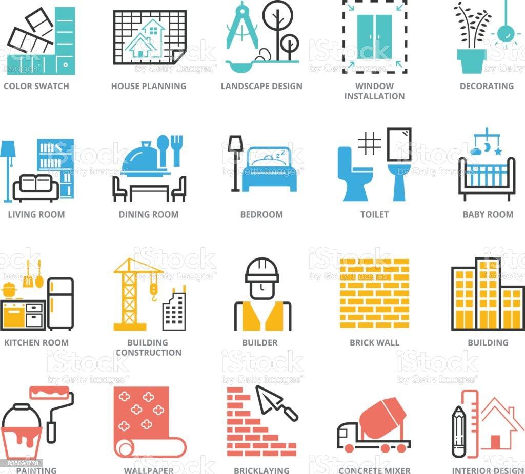 Ensemble d'icônes du Design d'intérieur et le renforcement de la couleur - clipart vectoriel de Application mobile libre de droits