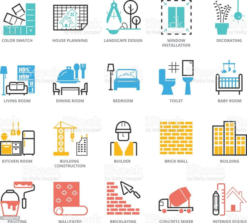 Color Icons set of Interior Design and Building vector art illustration