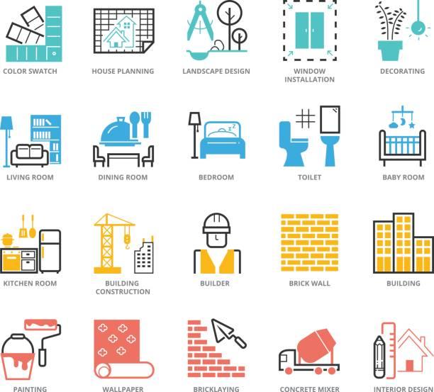 illustrations, cliparts, dessins animés et icônes de ensemble d'icônes du design d'intérieur et le renforcement de la couleur - architecture intérieure beton