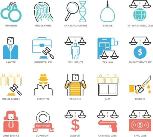 ilustraciones, imágenes clip art, dibujos animados e iconos de stock de conjunto de iconos de colores de derecho y justicia penal - civil rights