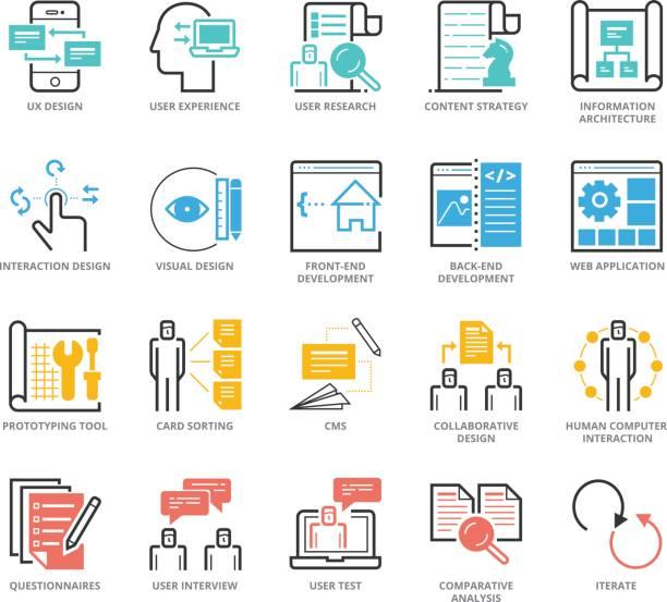 Color Icons set of UX Design And Web Development vector art illustration