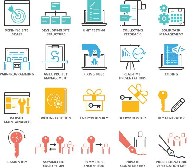 Color Icons set of Web Programming and Security vector art illustration