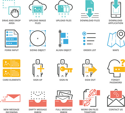 Color Icons set of Website and Mobile Application UI