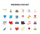Color icons set. Wedding pack. Vector illustration