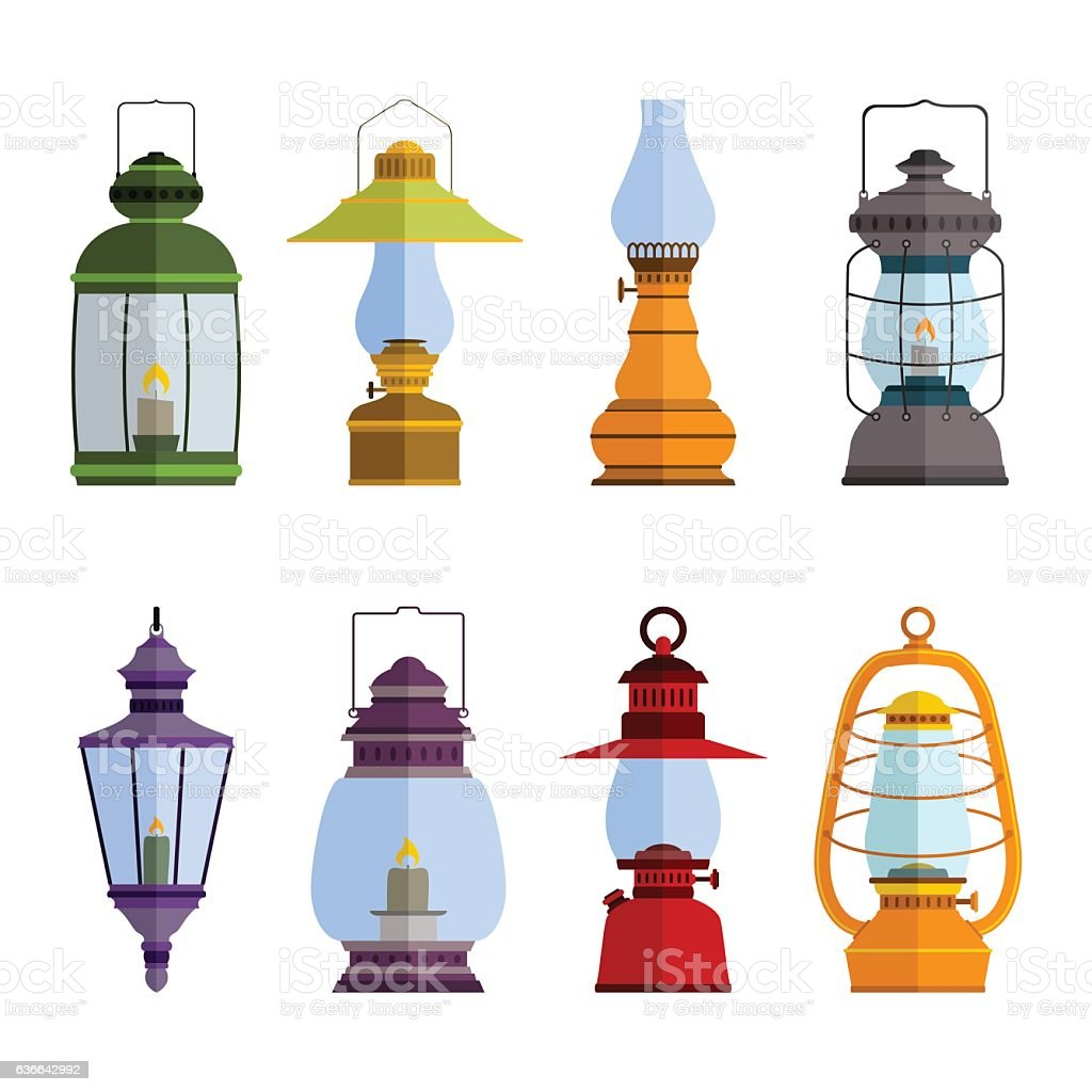 color icons set with lantern vector art illustration