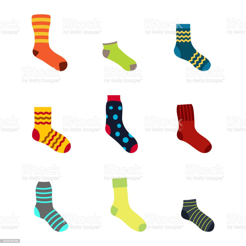 color icons set with socks vector art illustration